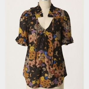 Tops - Anthropologie Odille Bianca Ruffle Tie Blouse